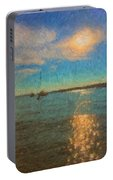Ocean Sun Path At Boothbay Harbor Portable Battery Charger