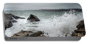 Ocean Water Crashing Againt Rocks With Cloudy Skies Portable Battery Charger