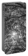 Odessa Sunrise -black And White Portable Battery Charger