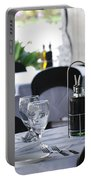 Oils And Glass At Dinner Portable Battery Charger