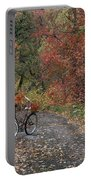 Old Bike In Autumn Portable Battery Charger