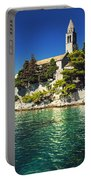 Old Church On Croatian Island Portable Battery Charger