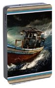 Old Fishing Boat In A Storm L A With Decorative Ornate Printed Frame. Portable Battery Charger
