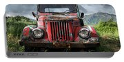 Old Forgotten Red Car Portable Battery Charger