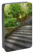 Old Garden With Stone Walls And Stair Steps Portable Battery Charger