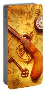 Old Gun On Old Map Portable Battery Charger by Garry Gay