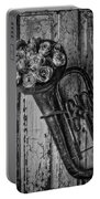 Old Horn And Roses On Door Black And White Portable Battery Charger