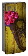 Old Horn And Roses On Door Portable Battery Charger