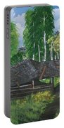 Old Log Cabin And   Memories Portable Battery Charger