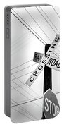 Old Midwest Railroad Warning Crossing Sign And Stop Sign At Dawn Portable Battery Charger