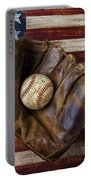 Old Mitt And Baseball Portable Battery Charger by Garry Gay