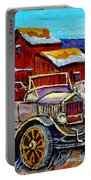 Old Model T Car Red Barns Canadian Winter Landscapes Outdoor Hockey Rink Paintings Carole Spandau Portable Battery Charger