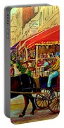 Old Montreal Restaurants Portable Battery Charger by Carole Spandau