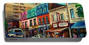 Old Montreal Schwartzs Deli Plateau Montreal City Scenes Portable Battery Charger