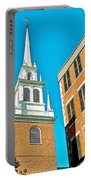Old North Church Tower In  Boston-massachusetts Portable Battery Charger