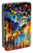 Old Part Of Town - Palette Knife Oil Painting On Canvas By Leonid Afremov Portable Battery Charger