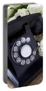 Old Phone And White Roses Portable Battery Charger