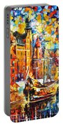 Old Port - Palette Knife Oil Painting On Canvas By Leonid Afremov Portable Battery Charger