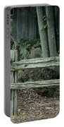 Old Rusty Wagon Wheels And Weathered Fence Portable Battery Charger