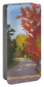 Old Scoolhouse Road Fall - Art By Bill Tomsa Portable Battery Charger