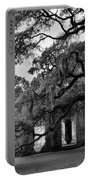 Old Sheldon Church Ruins Black And White 3 Portable Battery Charger