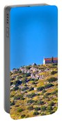 Old Stone Church And Green Energy Plant Portable Battery Charger