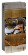 Old Suitcase Full Of Sea Shells Portable Battery Charger