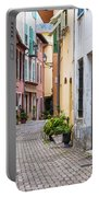 Old Town Street In Villefranche-sur-mer Portable Battery Charger