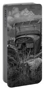 Old Truck Abandoned In The Grass In Black And White At The Ghost Town By Okaton South Dakota Portable Battery Charger