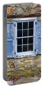 Old Village Window With Blue Shutters Portable Battery Charger