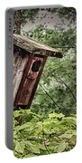 Old Weathered Worn Bird House In Summer Portable Battery Charger