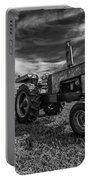 Old White Tractor In The Field Portable Battery Charger