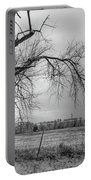 Old Winter Tree Grayscale Portable Battery Charger