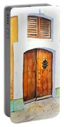Old Wood Door Arch And Shutters Portable Battery Charger