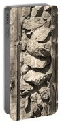Old Wood Door Window And Stone In Sepia Black And White Portable Battery Charger