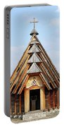 Old Wooden Church On Mountain Portable Battery Charger