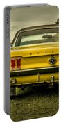 Old Yellow Mustang Rear View In Field Portable Battery Charger