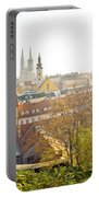 Old Zagreb Panorama In Morning Fog Portable Battery Charger