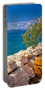 Olive Tree In Barrel By The Sea Portable Battery Charger
