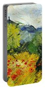 Olive Trees And Poppies  Portable Battery Charger