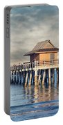 On A Cloudy Day At Naples Pier Portable Battery Charger
