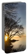 On Fire - Bright Sunrise Through The Willows Portable Battery Charger