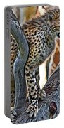 One Little Cheetah Sitting In A Tree Portable Battery Charger