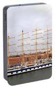 One Of Star Clipper's Masted Cruise Liners Docked In Venice Italy Portable Battery Charger