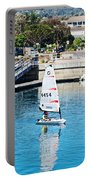 One-person Sailboats By The Commercial Pier In Monterey-california Portable Battery Charger