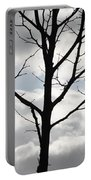 One Winter Tree With Clouds Portable Battery Charger