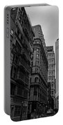 One World Trade Center New York Ny From Nassau Street Black And White Portable Battery Charger