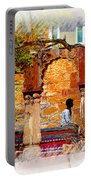 Open Air Bed Among The Arches India Rajasthan 1a Portable Battery Charger