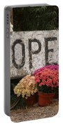 Open Sign With Flowers Fine Art Photo Portable Battery Charger