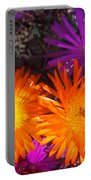 Orange And Fuchsia Color Flowers Portable Battery Charger